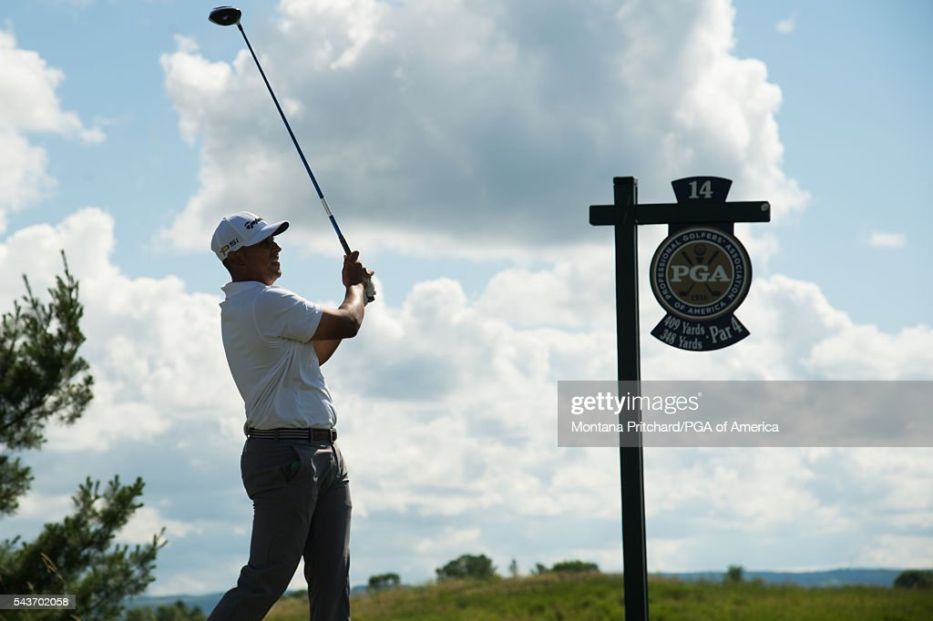 Rich Berberian hits his tee shot on the 14th hole during the final round of the 49th PGA Professional Championship at the Atunyote Golf Club on June 29, 2016 in Vernon, New York.