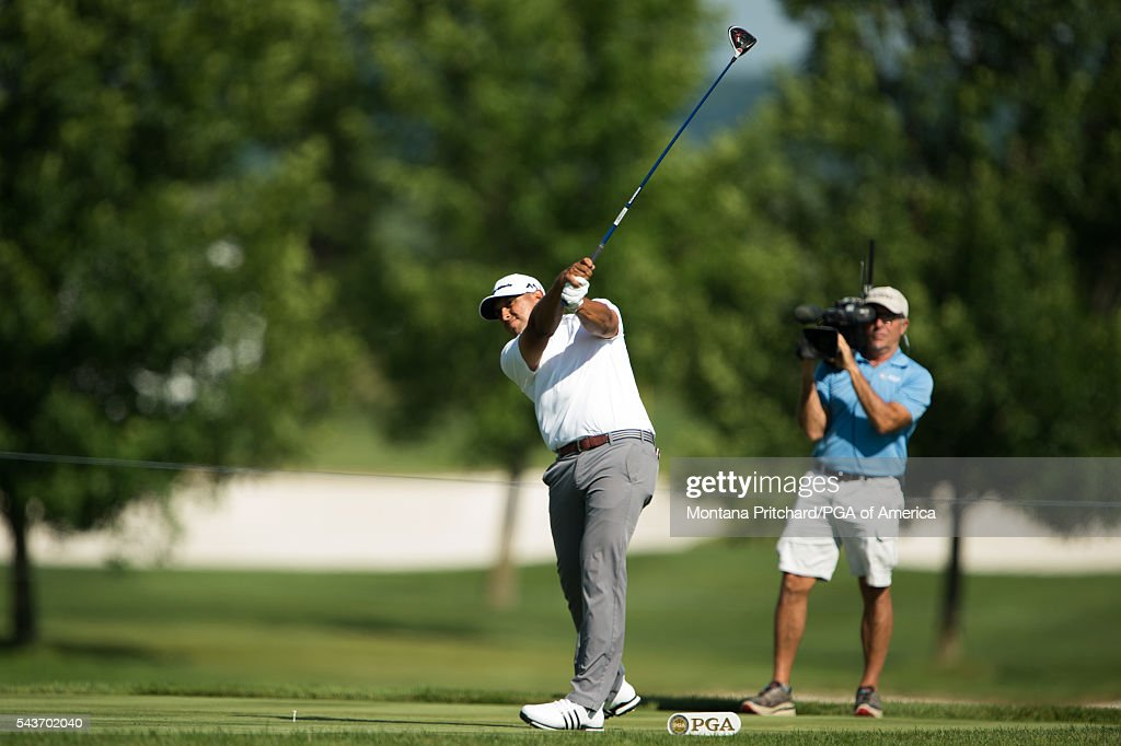 Rich Berberian hits his tee shot on the 15th hole during the final round of the 49th PGA Professional Championship at the Atunyote Golf Club on June 29, 2016 in Vernon, New York.
