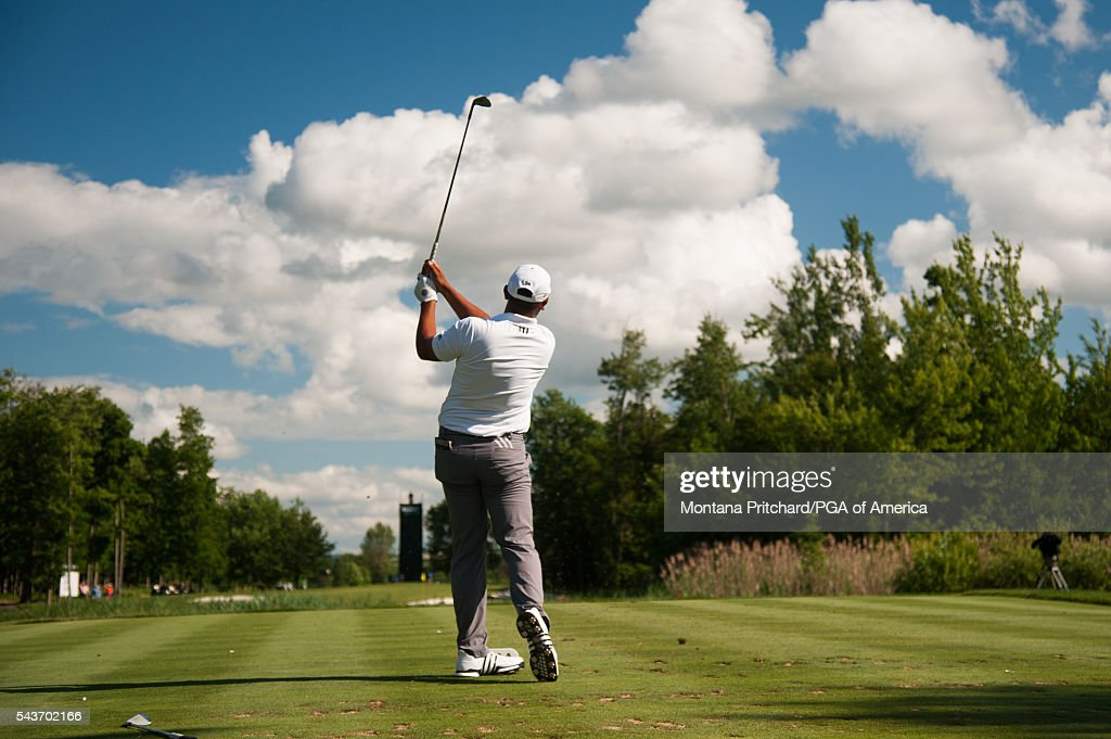 Rich Berberian hits his tee shot on the 16th hole during the final round of the 49th PGA Professional Championship at the Atunyote Golf Club on June 29, 2016 in Vernon, New York.