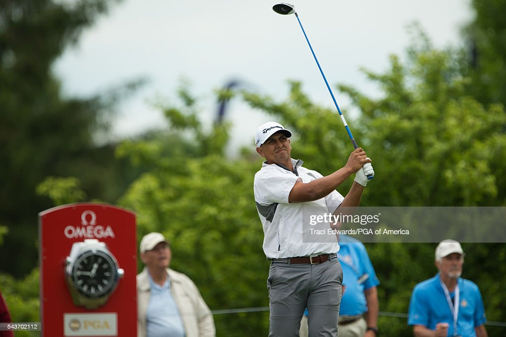 Rich Berberian hits his tee shot on the first hole during the final round of the 49th PGA Professional Championship at the Atunyote Golf Club on June 29, 2016 in Vernon, New York.