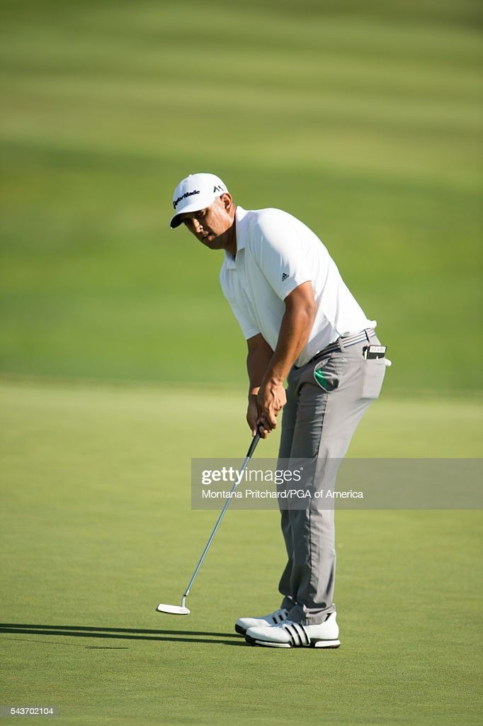 Rich Berberian makes his putt on the 18th hole during the final round of the 49th PGA Professional Championship at the Atunyote Golf Club on June 29, 2016 in Vernon, New York.