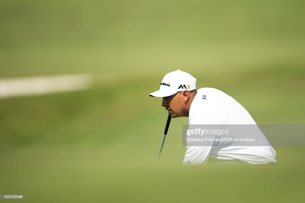Rich Berberian reads his putt on the 12th hole during the final round of the 49th PGA Professional Championship at the Atunyote Golf Club on June 29, 2016 in Vernon, New York.