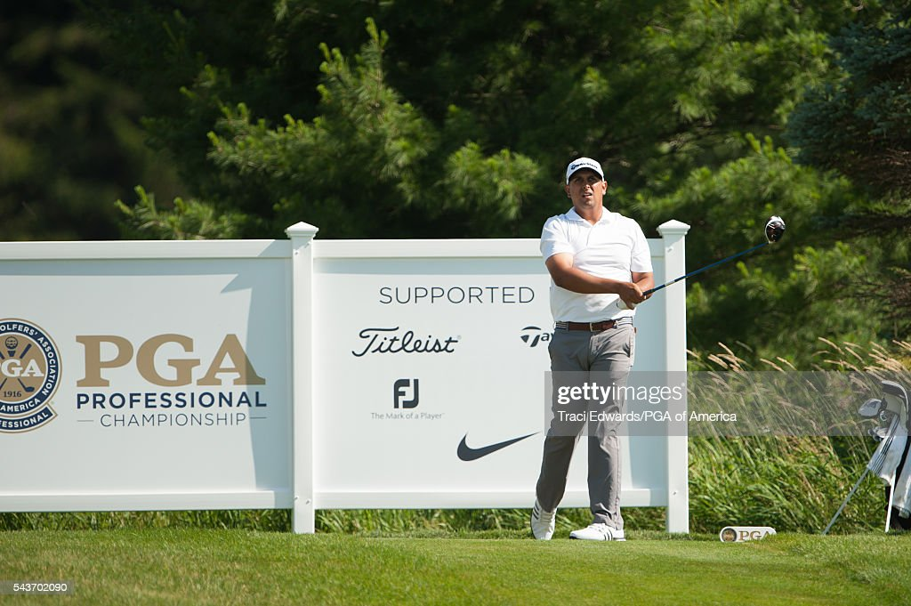 Rich Berberian watches his tee shot on the 14th hole during the final round of the 49th PGA Professional Championship at the Atunyote Golf Club on June 29, 2016 in Vernon, New York.