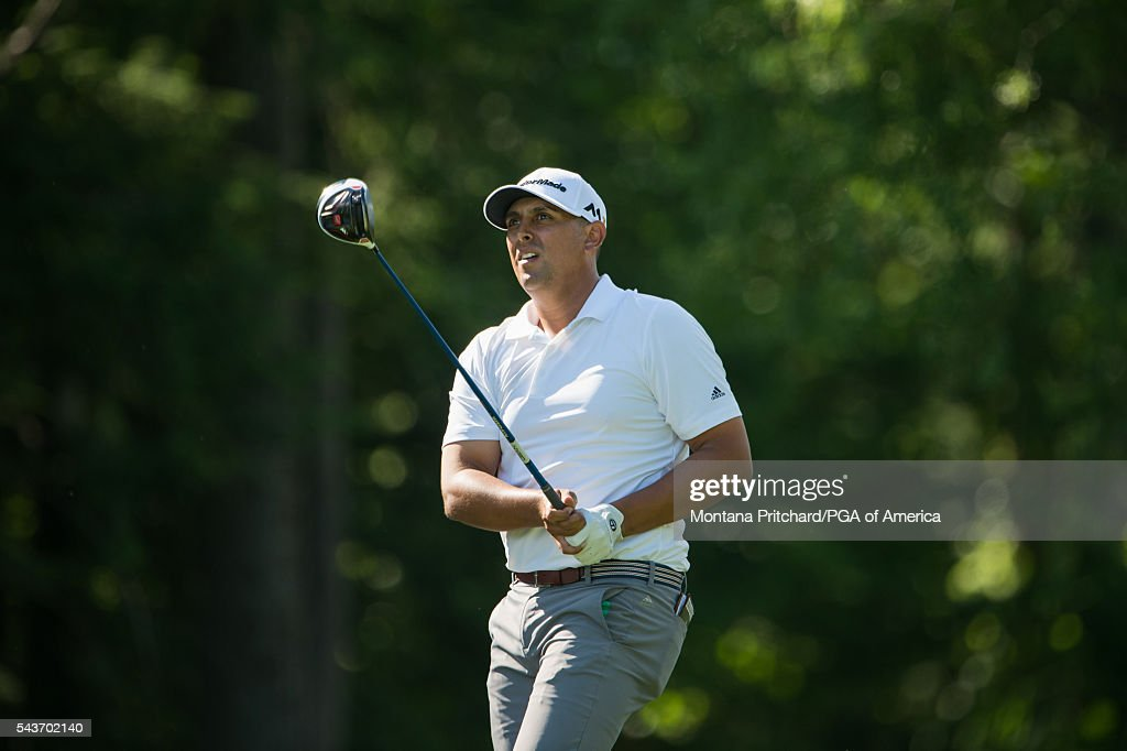 Rich Berberian watches his tee shot on the 17th hole during the final round of the 49th PGA Professional Championship at the Atunyote Golf Club on June 29, 2016 in Vernon, New York.