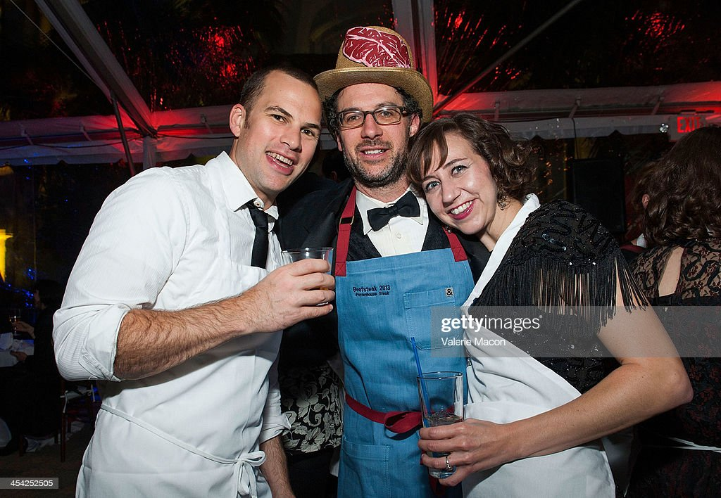 Rich Blomquist, Matt Selman and Kristen Schaal attend Beefsteak 2013 at Vibiana on December 7, 2013 in Los Angeles, California.