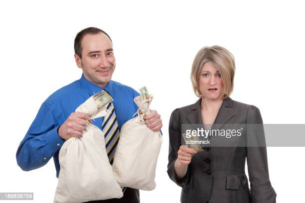 Rich Businessman Poor Businesswoman