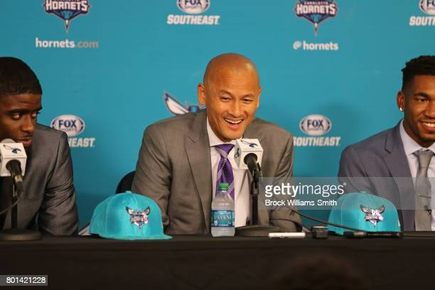 Rich Cho General Manager of the Charlotte Hornets introduces Dwayne Bacon and Malik Monk to the media at a press conference in Charlotte North...
