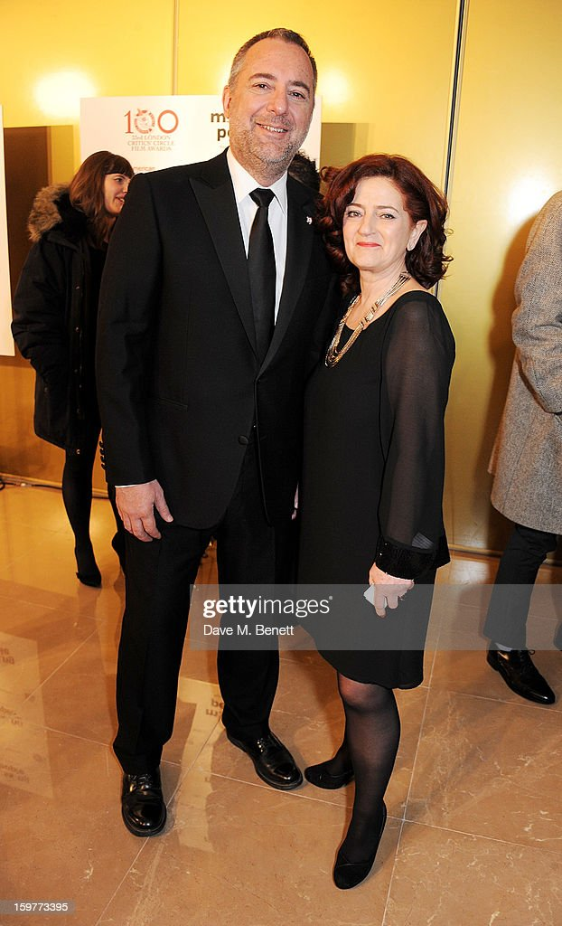 Rich Cline (L) and Hilary Oliver arrive at the London Critics Circle Film Awards at the May Fair Hotel on January 20, 2013 in London, England.