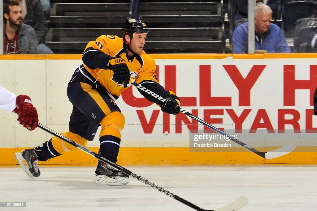 Rich Clune #16 of the Nashville Predators skates against the Phoenix Coyotes at Bridgestone Arena on November 25, 2013 in Nashville, Tennessee.