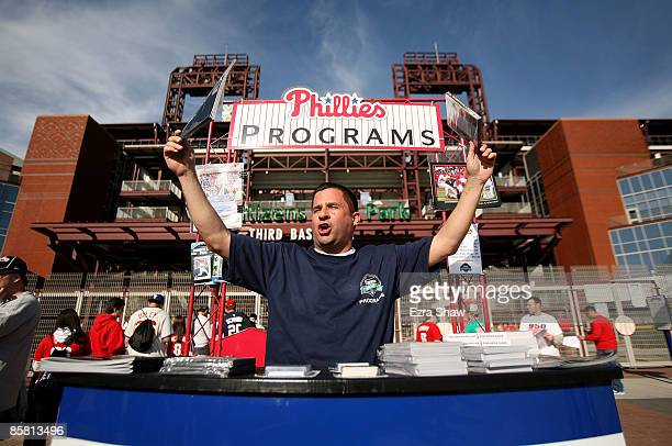 Rich DiArengo sells programs before the Philadelphia Phillies game against the Atlanta Braves on April 5 2009 at Citizens Bank Park in Philadelphia...