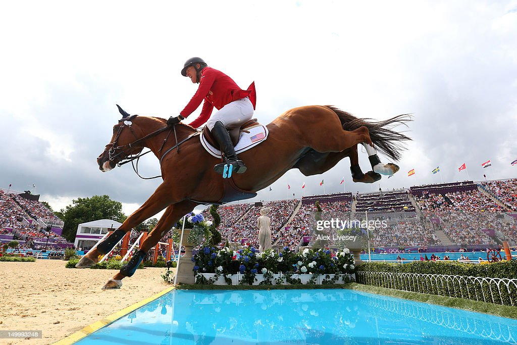 Rich Fellers of USA riding Flexible in the Individual Jumping on Day 12 of the London 2012 Olympic Games at Greenwich Park on August 8 2012 in London...