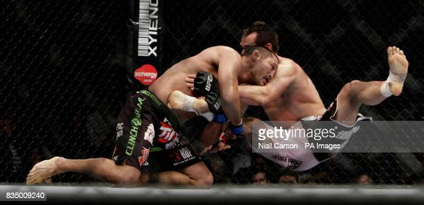 Rich Franklin is floored by Dan Henderson during the Ultimate Fighting Championship at The O2 in Dublin Ireland