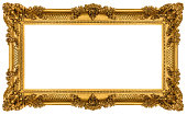 Golden Frame isolated on white background. Clipping paths included.