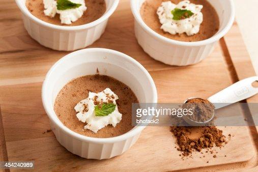 Rich Gourmet Homemade Chocolate Mousse Dessert : Stock Photo