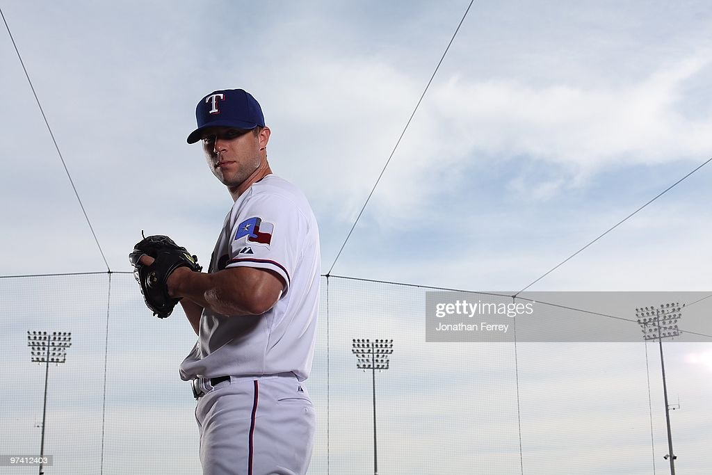 <a gi-track='captionPersonalityLinkClicked' href=/galleries/search?phrase=Rich+Harden&family=editorial&specificpeople=206184 ng-click='$event.stopPropagation()'>Rich Harden</a> #40 poses for a portrait during the Texas rangers Photo Day at Surprise on March 2, 2010 in Surprise, Arizona.