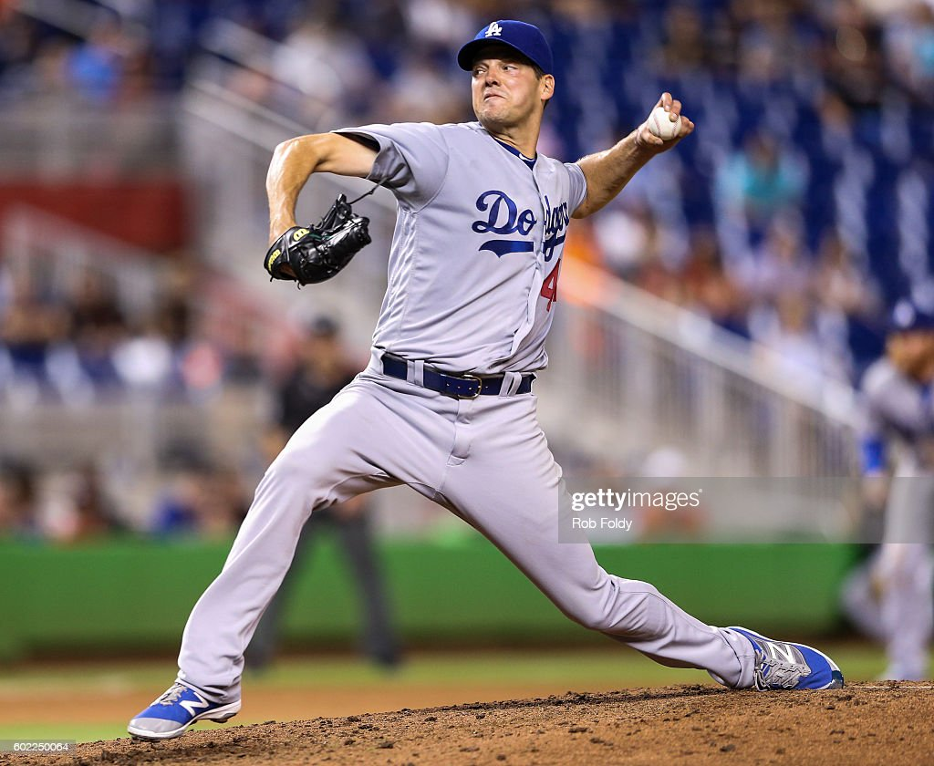 Rich Hill #44 of the Los Angeles Dodgers pitches during the game against the Miami Marlins at Marlins Park on September 10, 2016 in Miami, Florida.