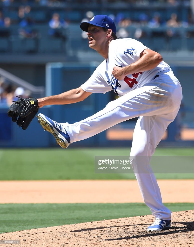 Rich Hill #44 of the Los Angeles Dodgers pitches in the fifth inning of the game against the San Francisco Giants at Dodger Stadium on July 29, 2017 in Los Angeles, California.