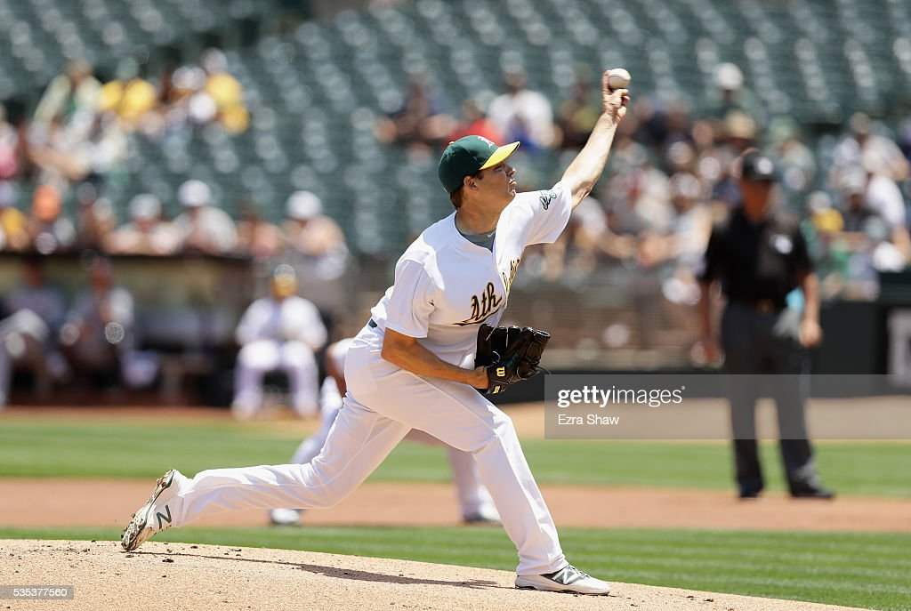<a gi-track='captionPersonalityLinkClicked' href=/galleries/search?phrase=Rich+Hill+-+Baseball+Player&family=editorial&specificpeople=546793 ng-click='$event.stopPropagation()'>Rich Hill</a> #18 of the Oakland Athletics pitches against the Detroit Tigers in the first inning at the Coliseum on May 29, 2016 in Oakland, California.