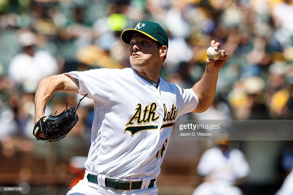 Rich Hill #18 of the Oakland Athletics pitches against the Houston Astros during the third inning at the Oakland Coliseum on May 1, 2016 in Oakland, California.