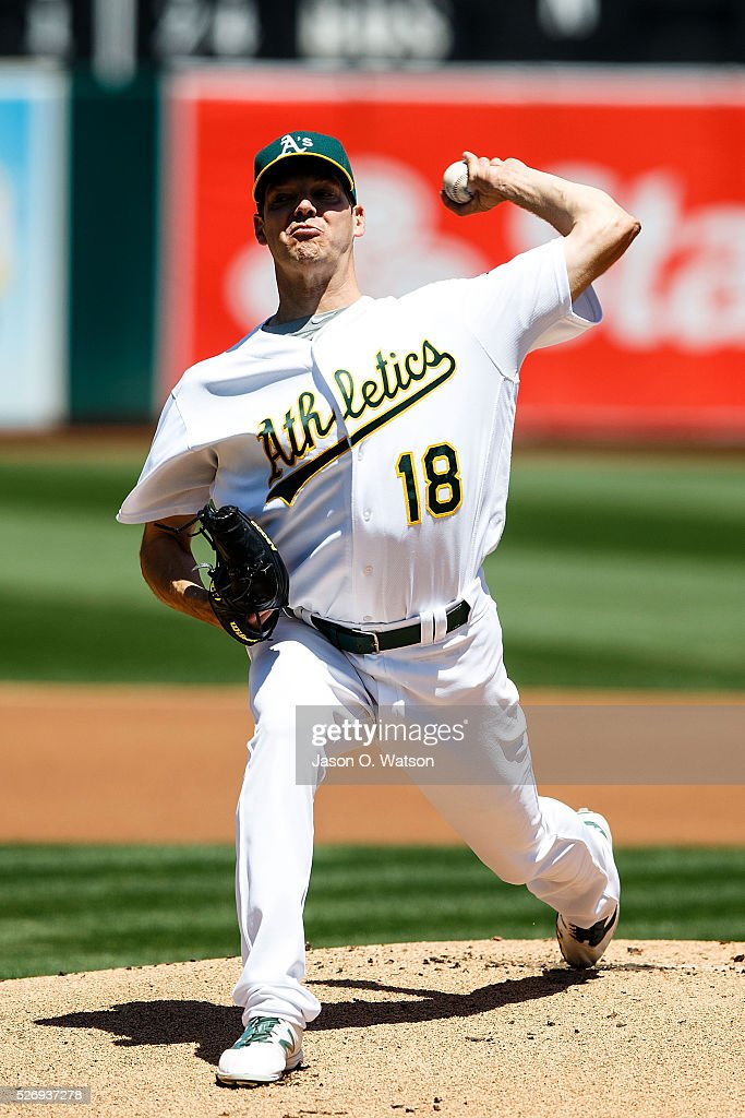 Rich Hill #18 of the Oakland Athletics pitches against the Houston Astros during the first inning at the Oakland Coliseum on May 1, 2016 in Oakland, California.