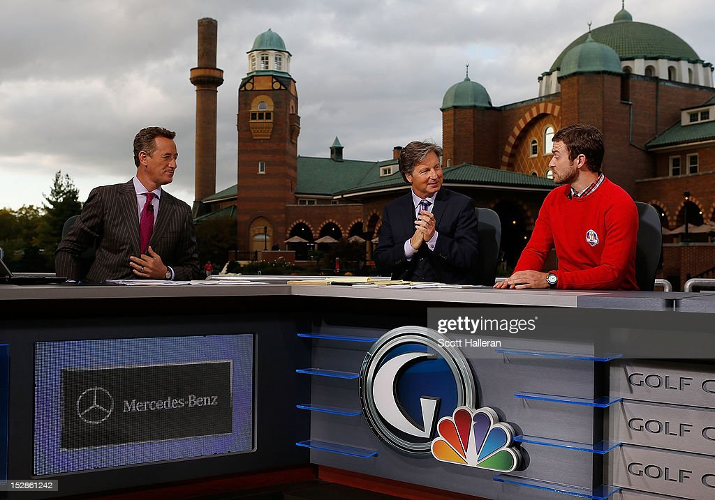 Rich Lerner, <a gi-track='captionPersonalityLinkClicked' href=/galleries/search?phrase=Brandel+Chamblee&family=editorial&specificpeople=3431577 ng-click='$event.stopPropagation()'>Brandel Chamblee</a> and <a gi-track='captionPersonalityLinkClicked' href=/galleries/search?phrase=Justin+Timberlake&family=editorial&specificpeople=157482 ng-click='$event.stopPropagation()'>Justin Timberlake</a> are seen on the Golf Channel set prior to the start of The 39th Ryder Cup at Medinah Country Club on September 27, 2012 in Medinah, Illinois.