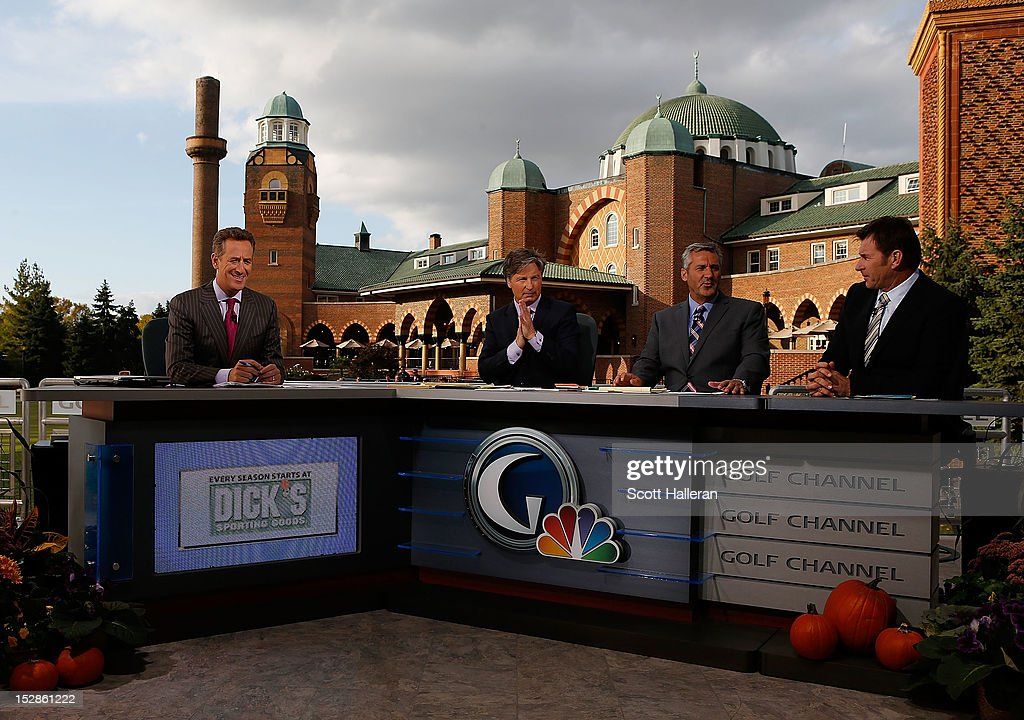 Rich Lerner, <a gi-track='captionPersonalityLinkClicked' href=/galleries/search?phrase=Brandel+Chamblee&family=editorial&specificpeople=3431577 ng-click='$event.stopPropagation()'>Brandel Chamblee</a>, <a gi-track='captionPersonalityLinkClicked' href=/galleries/search?phrase=Frank+Nobilo&family=editorial&specificpeople=2182242 ng-click='$event.stopPropagation()'>Frank Nobilo</a> and <a gi-track='captionPersonalityLinkClicked' href=/galleries/search?phrase=Nick+Faldo&family=editorial&specificpeople=171119 ng-click='$event.stopPropagation()'>Nick Faldo</a> are seen on the Golf Channel set prior to the start of The 39th Ryder Cup at Medinah Country Club on September 27, 2012 in Medinah, Illinois.