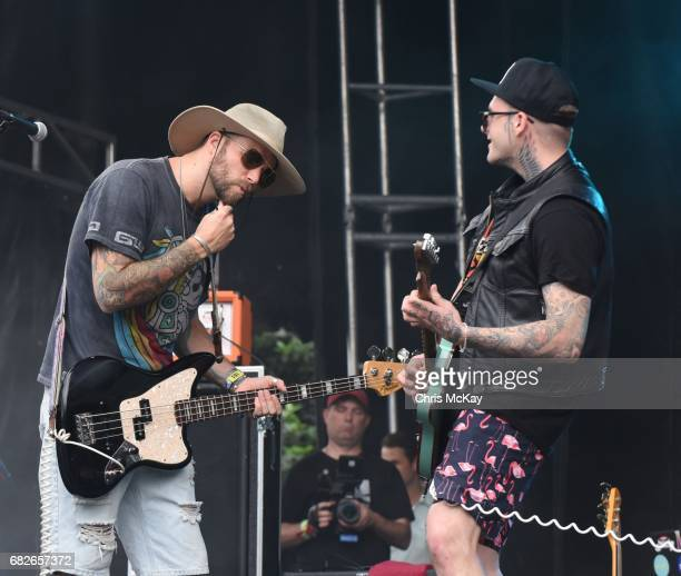 Rich Meyer and Johnny Stevens of Highly Suspect perform at Shaky Knees Music Festival at Centennial Olympic Park on May 12 2017 in Atlanta Georgia