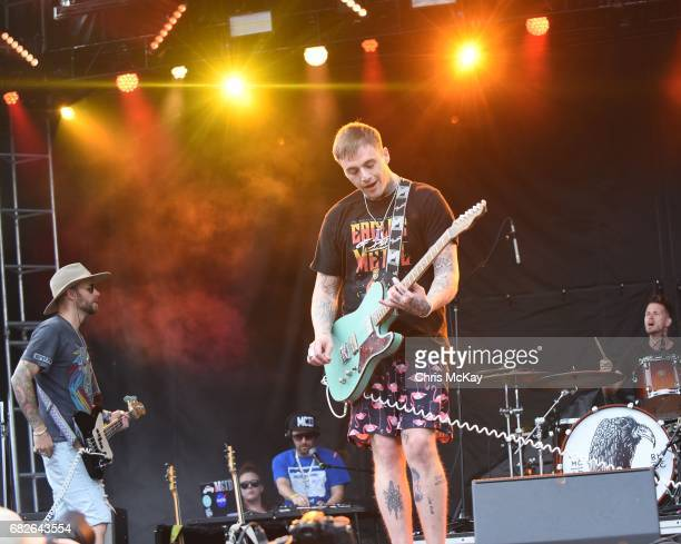 Rich Meyer Johnny Stevens and Ryan Meyer of Highly Suspect perform at Shaky Knees Music Festival at Centennial Olympic Park on May 12 2017 in Atlanta...