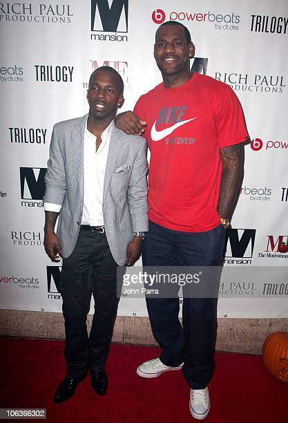 Rich Paul and LeBron James arrive at Mansion nightclub on October 29 2010 in Miami Beach Florida
