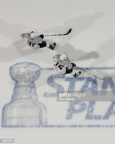 Rich Peverley and Josh Langfeld of the Nashville Predators skate around the ice for warmups before game five of the Western Conference Quarterfinals...