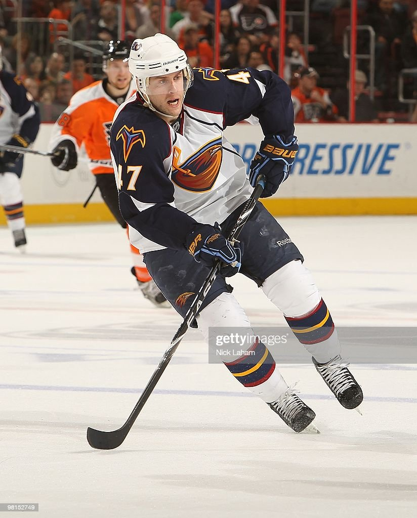 <a gi-track='captionPersonalityLinkClicked' href=/galleries/search?phrase=Rich+Peverley&family=editorial&specificpeople=554442 ng-click='$event.stopPropagation()'>Rich Peverley</a> of the Atlanta Thrashers against the Philadelphia Flyers at the Wachovia Center on March 21, 2010 in Philadelphia, Pennsylvania.