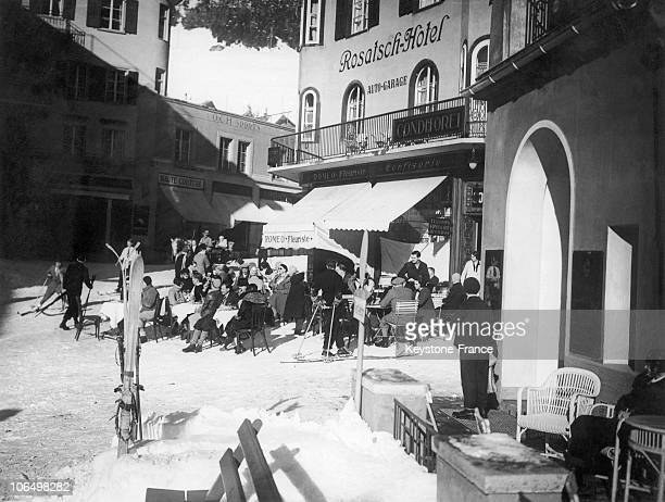 Rich Vacationers Having BeforeDinner Drinks At The Terrace Of The Rosatch Hotel In Saint Moritz Switzerland Between Approximately 1930 And 1940