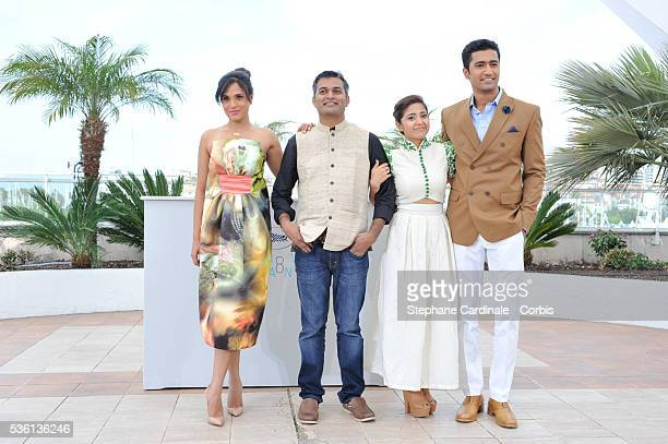 Richa Chadda Neeraj Ghaywan Shweta Tripathi and Vicky Kaushal attend the 'Masaan' Photocall during the 68th Cannes Film Festival