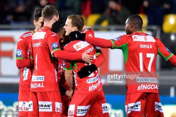 Richairo Zivkovic forward of KV Oostende celebrates scoring a goal during the Belgian Croky Cup match between KV Oostende and Standard de Liege on...
