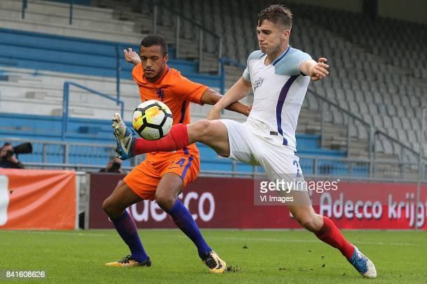 Richairo Zivkovic of Holland U21 Jonjoe Kenny of England U21 during the EURO U21 2017 qualifying match between Netherlands U21 and England U21 at the...