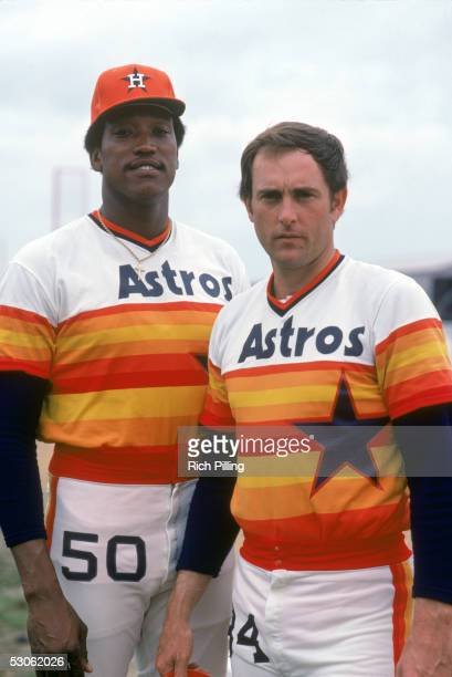 R Richard and Nolan Ryan of the Houston Astros pose before March1980 season game