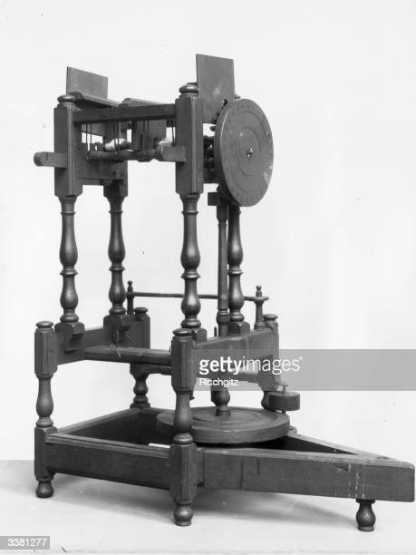 Richard Arkwright's flyer spinning frame also known as the throstle or roll drawing machine which spun cotton fibre into thread and marked the move...