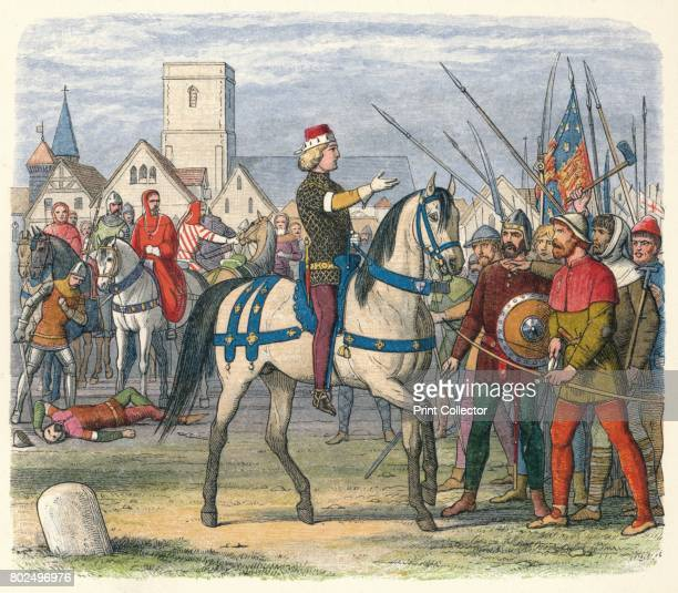 Richard assumes the command of the rebels' 1864 King Richard II of England assumes the command of the rebels after the death of their leader Wat...