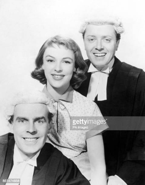Richard Attenborough and Ian Carmichael with Jill Adams who are all appearing in the Boulting Brothers' new screen comedy 'Brothers in Law'