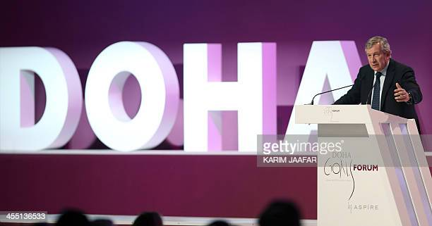 Richard Attias executive producer of GOALS and executive chairman of Richard Attias and Associates talks during the Doha GOALS summit in the Qatari...