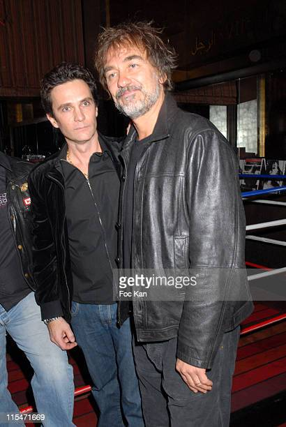 Richard Aujard and Olivier Marchal during ''Beatrice Dalle Face a l'Objectif'' book and ''Champions'' book Launch at Cafe De L'Homme Musee de L'Homme...
