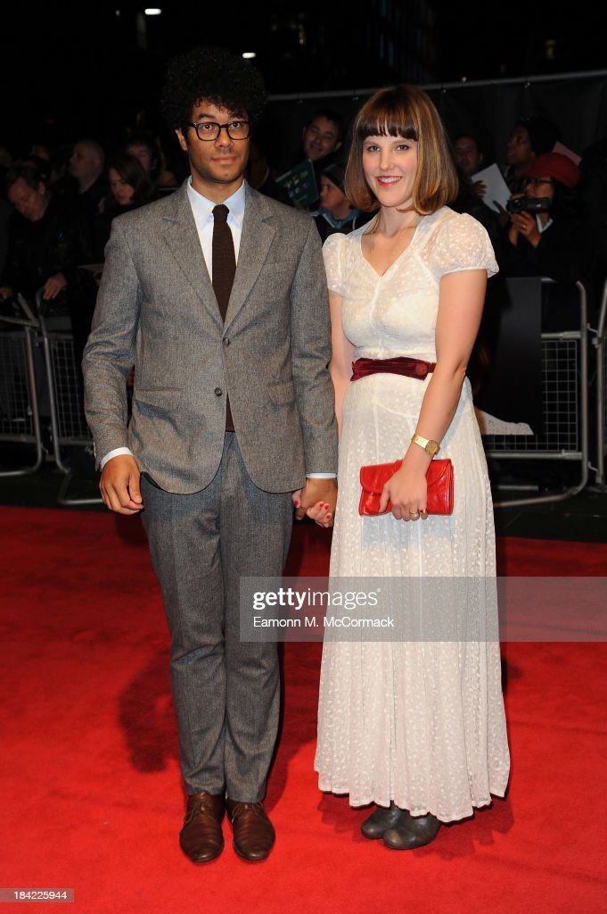 Richard Ayoade (L) attends a screening of 'The Double' during the 57th BFI London Film Festival at Odeon West End on October 12, 2013 in London, England.