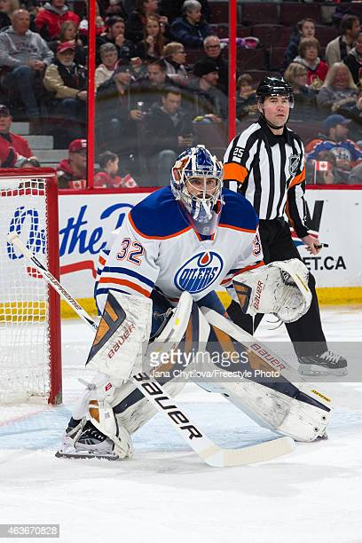 Richard Bachman of the Edmonton Oilers defends his net against the Ottawa Senators at Canadian Tire Centre on February 14 2015 in Ottawa Ontario...