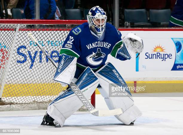 Richard Bachman of the Vancouver Canucks looks on from his crease during their NHL game against the New York Islanders at Rogers Arena March 9 2017...