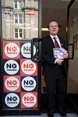 Richard Baker a member of the Scottish parliament for the country's North East region posing outside the antiindependence Better Together office in...