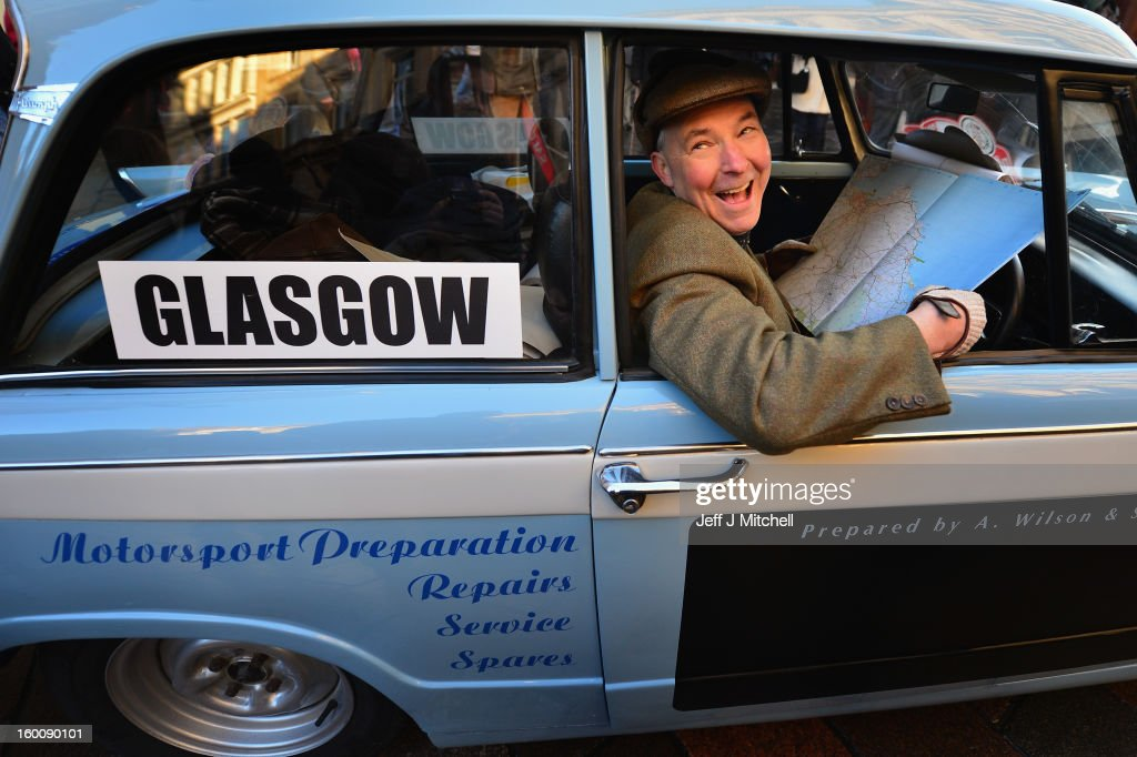Richard Bartniczek sits in a car in Glasgow ahead of the start of the Monte Carlo Classic Rally on January 26, 2013 in Glasgow. Around 100 cars will set off from The People's Palace at Glasgow Green, they will pass through Kilmarnock and Dumfries on route to Monte Carlo via Dover.