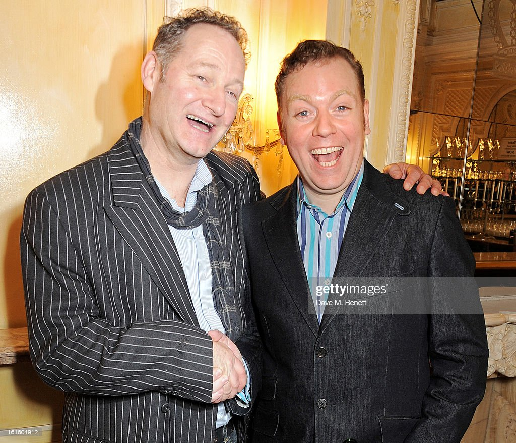 Richard Bean (L) and Rufus Hound attend an after party celebrating the new cast of 'One Man, Two Guvnors' at the Theatre Royal Haymarket on February 12, 2013 in London, England.