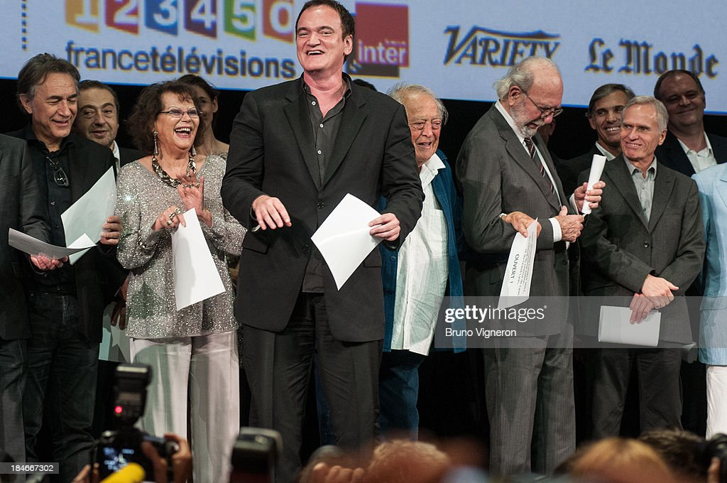 Richard Berry, Patrick Timsit, Claudia Cardinale, Quentin Tarentino, Geaorges Lautner, Jean Pierre Marielle attend the 5th Lyon Film Festival on October 14, 2013 in Lyon, France.