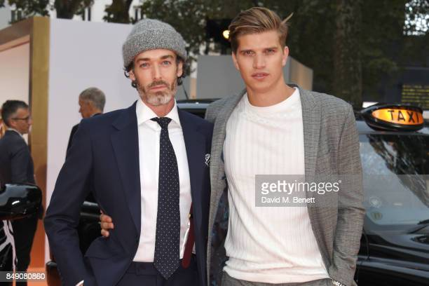 Richard Biedul and Toby HuntingtonWhiteley attend the World Premiere of 'Kingsman The Golden Circle' at Odeon Leicester Square on September 18 2017...