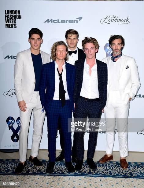 Richard Biedul Ben Nordberg Toby HuningtonWhiteley Dougie Poynter and Isaac Carew attending the One for the Boys Fashion Ball held at The Landmark...